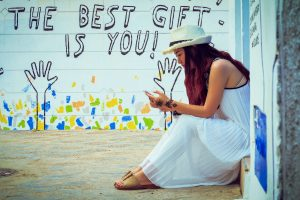 Photo of woman caption The best gift is you